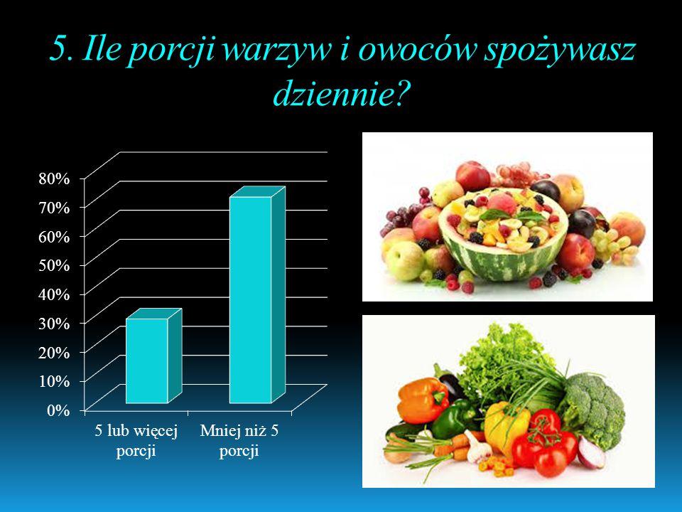 5. Ile porcji warzyw i owoców spożywasz dziennie?