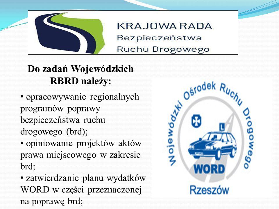 opracowywanie regionalnych programów poprawy bezpieczeństwa ruchu drogowego (brd); opiniowanie projektów aktów prawa miejscowego w zakresie brd; zatwierdzanie planu wydatków WORD w części przeznaczonej na poprawę brd; Do zadań Wojewódzkich RBRD należy: