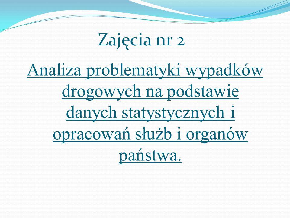 Zajęcia nr 2 Analiza problematyki wypadków drogowych na podstawie danych statystycznych i opracowań służb i organów państwa.