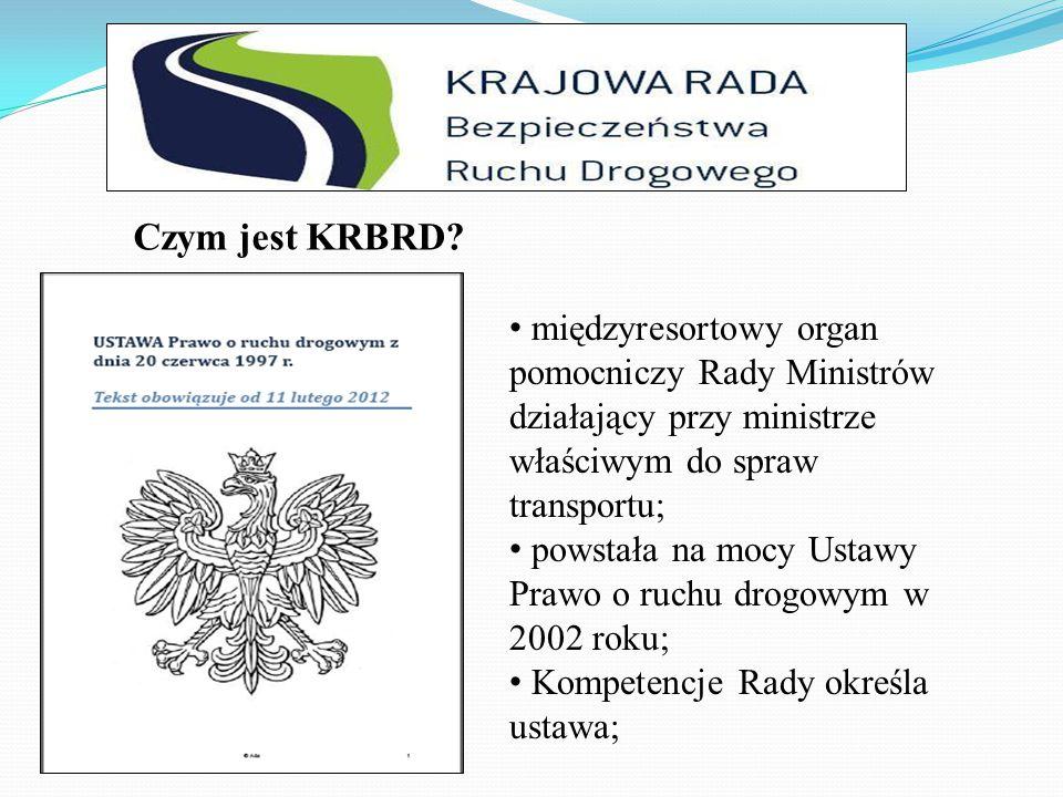 proponowanie kierunków polityki państwa w zakresie bezpieczeństwa transportu; opracowywanie programów poprawy bezpieczeństwa ruchu drogowego; inicjowanie badań naukowych; inicjowanie i opiniowanie projektów aktów prawnych oraz umów międzynarodowych; Zadania KRBRD