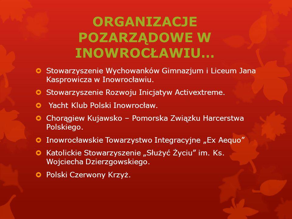ORGANIZACJE POZARZĄDOWE W INOWROCŁAWIU…  Stowarzyszenie Wychowanków Gimnazjum i Liceum Jana Kasprowicza w Inowrocławiu.  Stowarzyszenie Rozwoju Inic