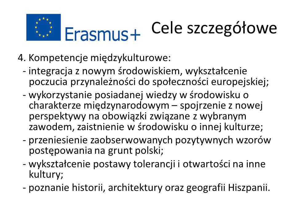 Cele szczegółowe 4. Kompetencje międzykulturowe: - integracja z nowym środowiskiem, wykształcenie poczucia przynależności do społeczności europejskiej