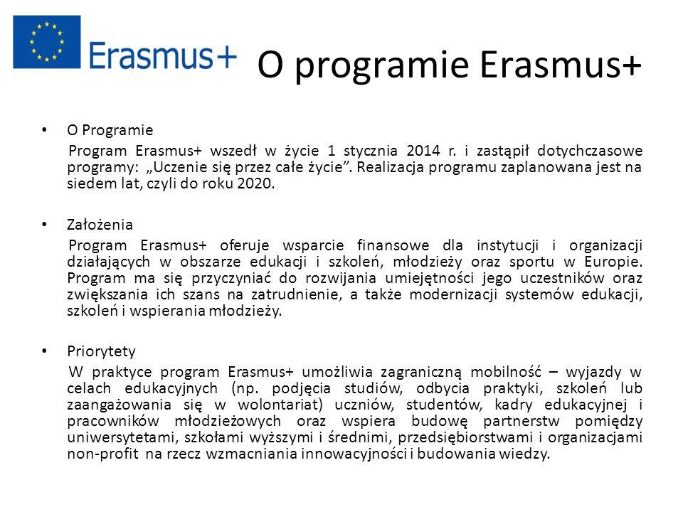 """O programie Erasmus+ O Programie Program Erasmus+ wszedł w życie 1 stycznia 2014 r. i zastąpił dotychczasowe programy: """"Uczenie się przez całe życie""""."""
