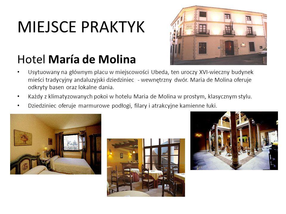 MIEJSCE PRAKTYK Hotel María de Molina Usytuowany na głównym placu w miejscowości Ubeda, ten uroczy XVI-wieczny budynek mieści tradycyjny andaluzyjski