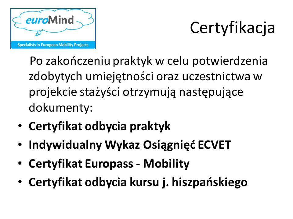 Certyfikacja Po zakończeniu praktyk w celu potwierdzenia zdobytych umiejętności oraz uczestnictwa w projekcie stażyści otrzymują następujące dokumenty