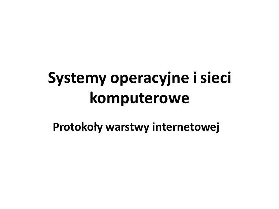 Systemy operacyjne i sieci komputerowe Protokoły warstwy internetowej