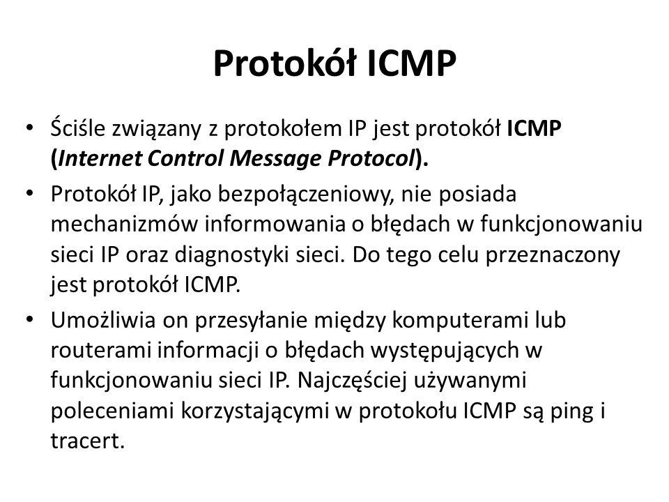Protokół ICMP Ściśle związany z protokołem IP jest protokół ICMP (Internet Control Message Protocol). Protokół IP, jako bezpołączeniowy, nie posiada m