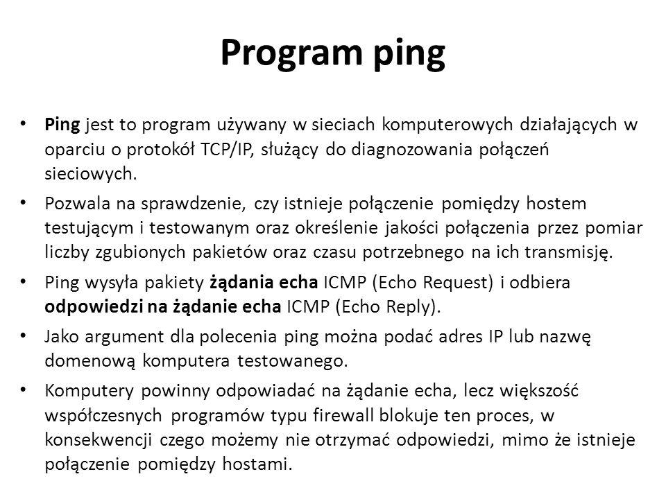 Program ping Ping jest to program używany w sieciach komputerowych działających w oparciu o protokół TCP/IP, służący do diagnozowania połączeń sieciow
