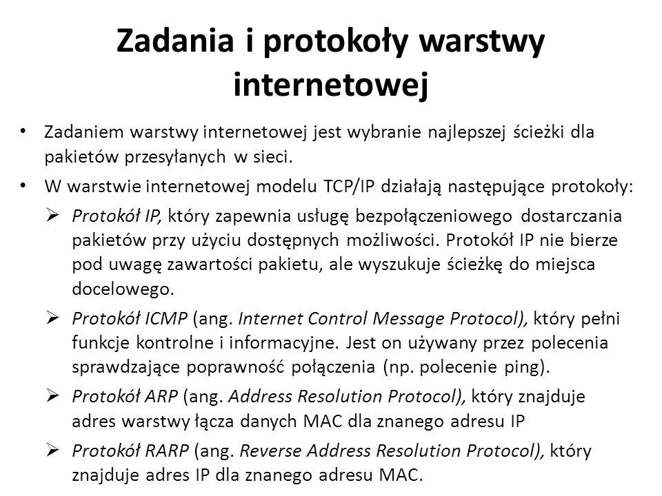 Protokół IP Podstawowym protokołem działającym w warstwie internetowej jest protokół IP (ang.