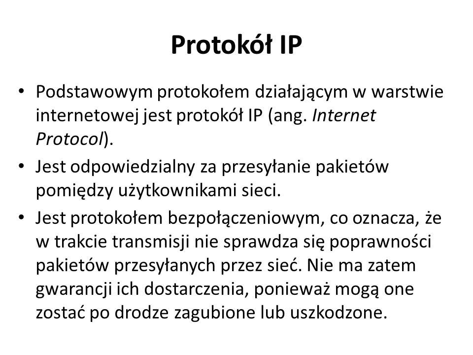 Protokół IP Podstawowym protokołem działającym w warstwie internetowej jest protokół IP (ang. Internet Protocol). Jest odpowiedzialny za przesyłanie p