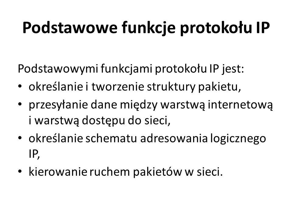 Podstawowe funkcje protokołu IP Podstawowymi funkcjami protokołu IP jest: określanie i tworzenie struktury pakietu, przesyłanie dane między warstwą in