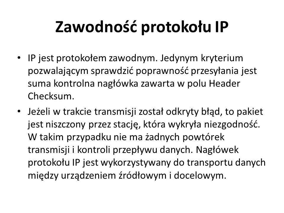 Zawodność protokołu IP IP jest protokołem zawodnym. Jedynym kryterium pozwalającym sprawdzić poprawność przesyłania jest suma kontrolna nagłówka zawar