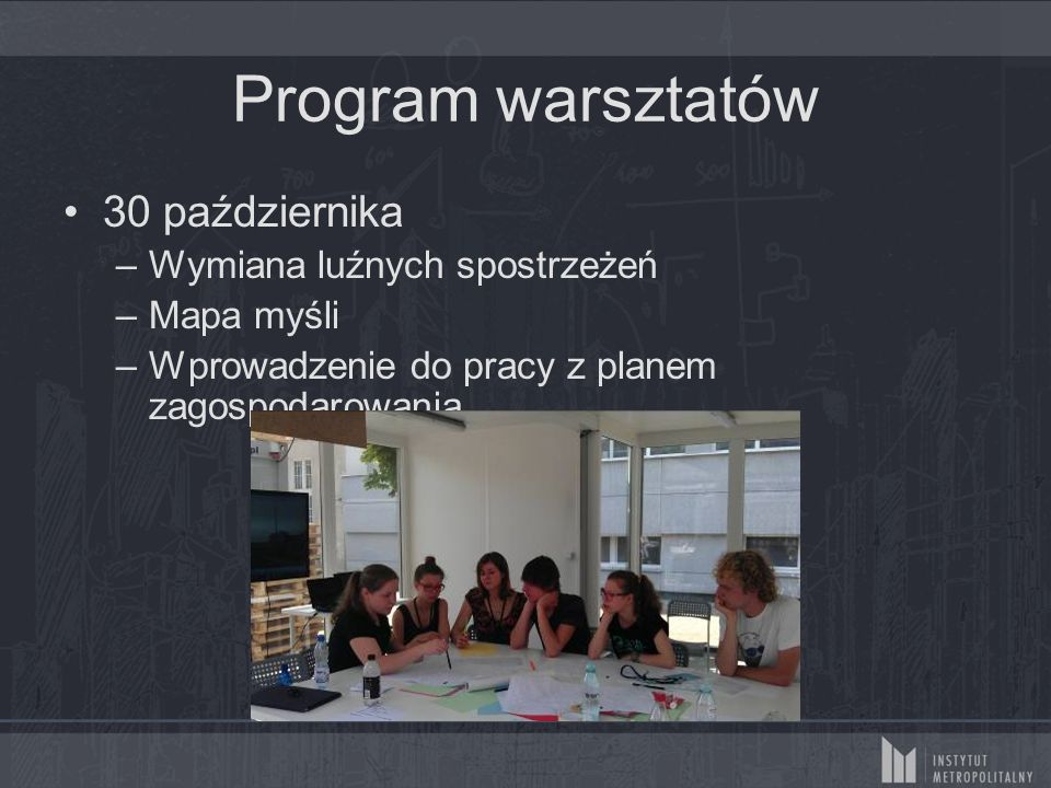 Program warsztatów 30 października –Wymiana luźnych spostrzeżeń –Mapa myśli –Wprowadzenie do pracy z planem zagospodarowania
