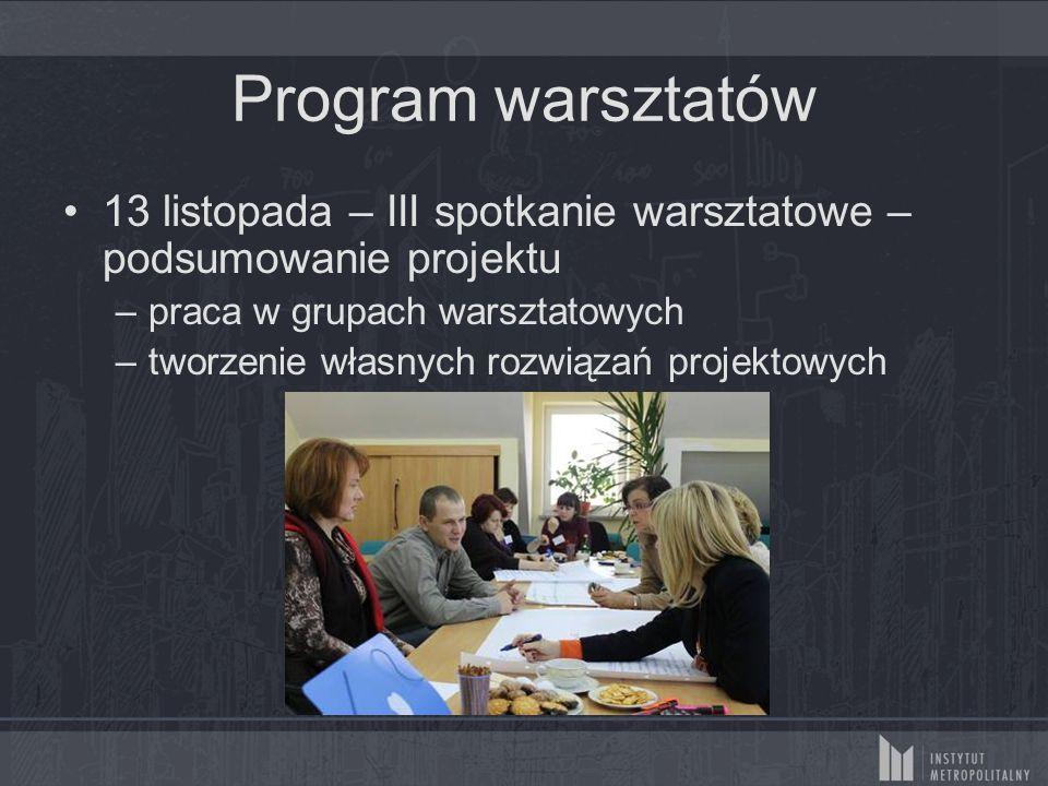 Program warsztatów 13 listopada – III spotkanie warsztatowe – podsumowanie projektu –praca w grupach warsztatowych –tworzenie własnych rozwiązań projektowych