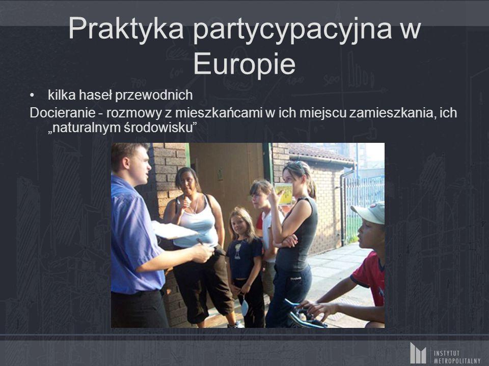 """Praktyka partycypacyjna w Europie kilka haseł przewodnich Docieranie - rozmowy z mieszkańcami w ich miejscu zamieszkania, ich """"naturalnym środowisku"""