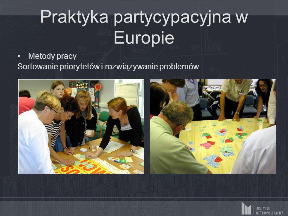 Praktyka partycypacyjna w Europie Metody pracy Sortowanie priorytetów i rozwiązywanie problemów