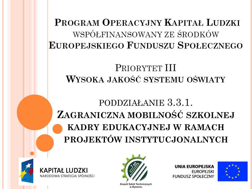 Projekt realizowany przy wsparciu finansowym Komisji Europejskiej w ramach Europejskiego Funduszu Społecznego http://pokl.frse.org.pl/projekty- instytucjonalne