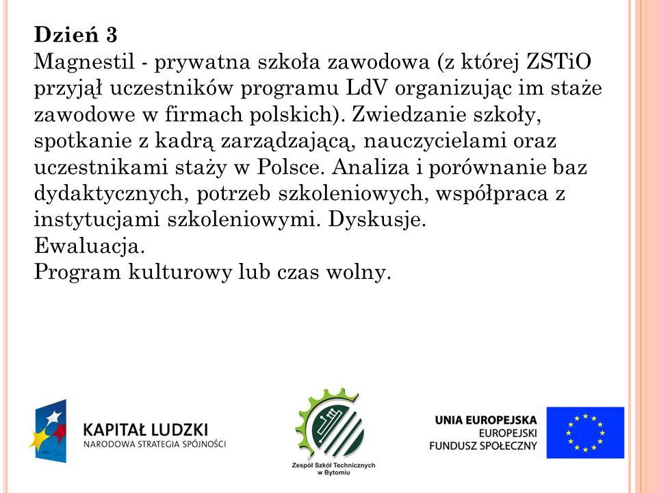 Dzień 3 Magnestil - prywatna szkoła zawodowa (z której ZSTiO przyjął uczestników programu LdV organizując im staże zawodowe w firmach polskich). Zwied