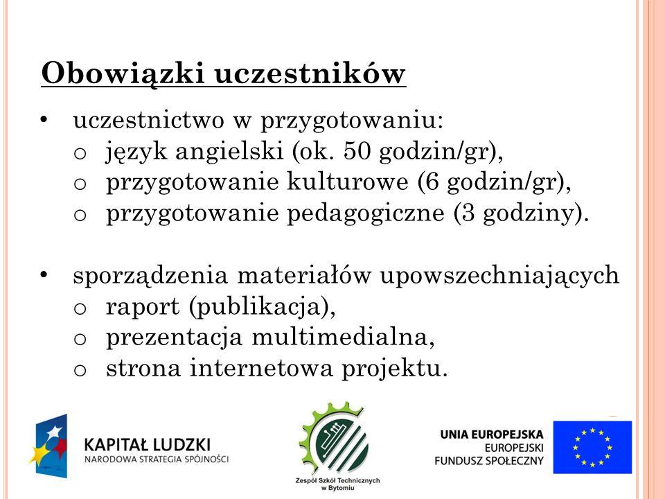 """pobranie, wypełnienie i dostarczenie do koordynatora wypełnionego """"kwestionariusza zgłoszeniowego wraz z wymaganymi załącznikami Nadsyłanie zgłoszeń pomiędzy 06/10/2013 a 01/11/2013 rozmowa z anglistą sprawdzająca poziom języka angielskiego (wymagana jest znajomość na poziomie podstawowym) stworzenie listy uczestników przez komisję rekrutacyjną Rekrutacja do projektu"""