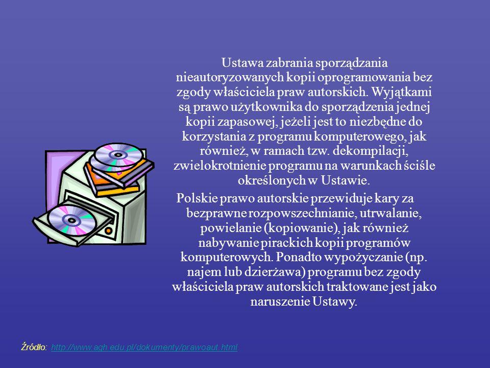 Ustawa zabrania sporządzania nieautoryzowanych kopii oprogramowania bez zgody właściciela praw autorskich. Wyjątkami są prawo użytkownika do sporządze