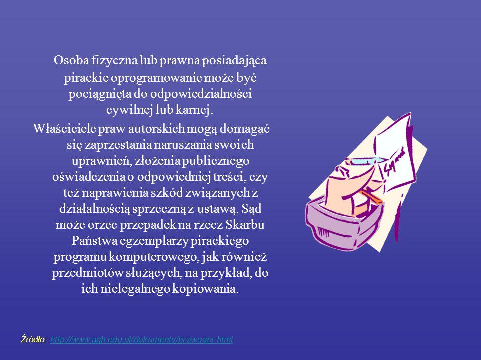 Osoba fizyczna lub prawna posiadająca pirackie oprogramowanie może być pociągnięta do odpowiedzialności cywilnej lub karnej. Właściciele praw autorski