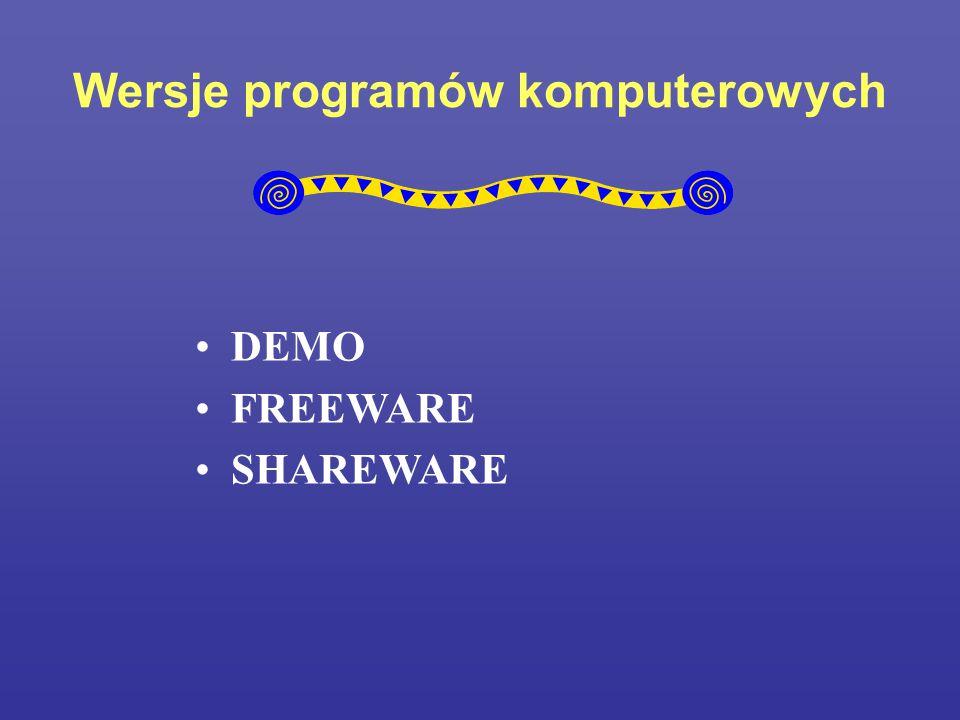 Wersje programów komputerowych DEMO FREEWARE SHAREWARE