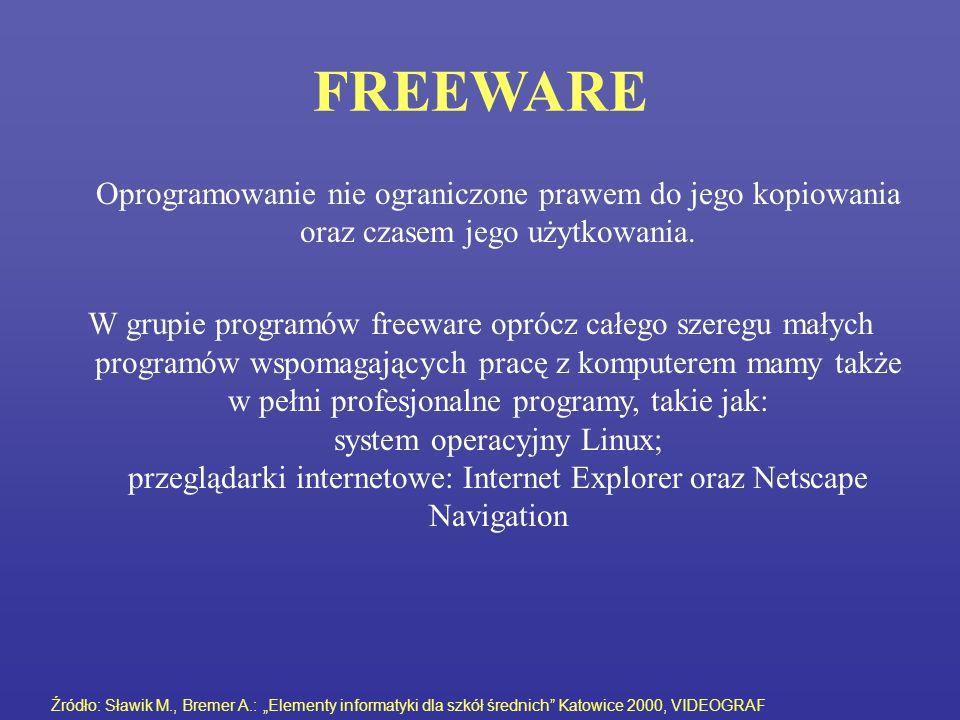 FREEWARE Oprogramowanie nie ograniczone prawem do jego kopiowania oraz czasem jego użytkowania. W grupie programów freeware oprócz całego szeregu mały