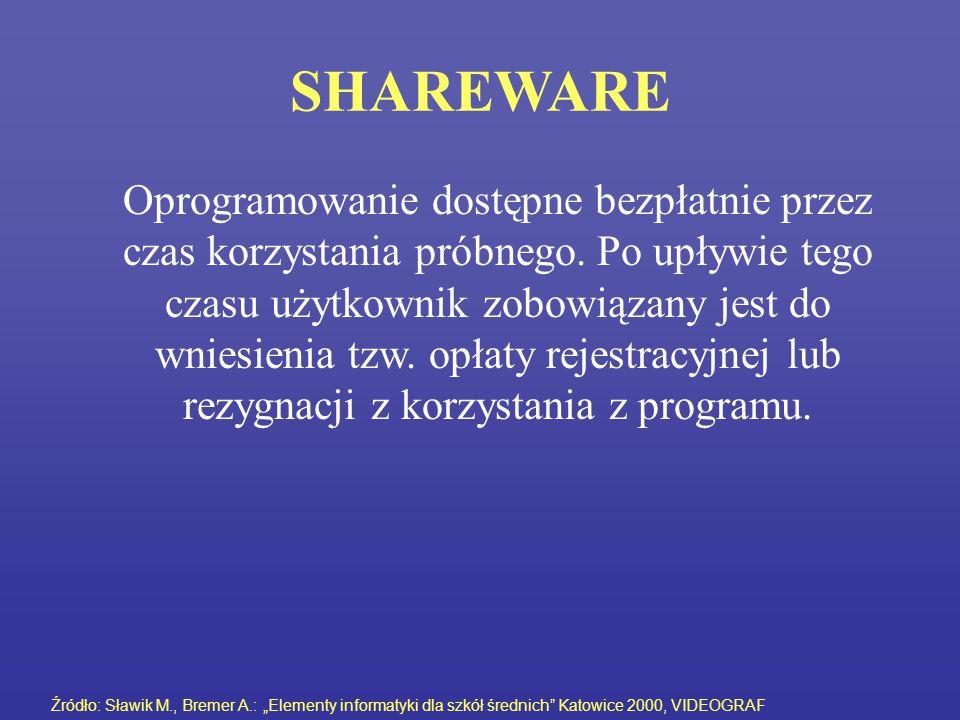 SHAREWARE Oprogramowanie dostępne bezpłatnie przez czas korzystania próbnego. Po upływie tego czasu użytkownik zobowiązany jest do wniesienia tzw. opł
