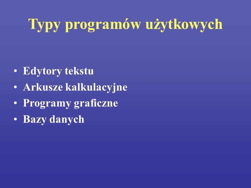 Typy programów użytkowych Edytory tekstu Arkusze kalkulacyjne Programy graficzne Bazy danych