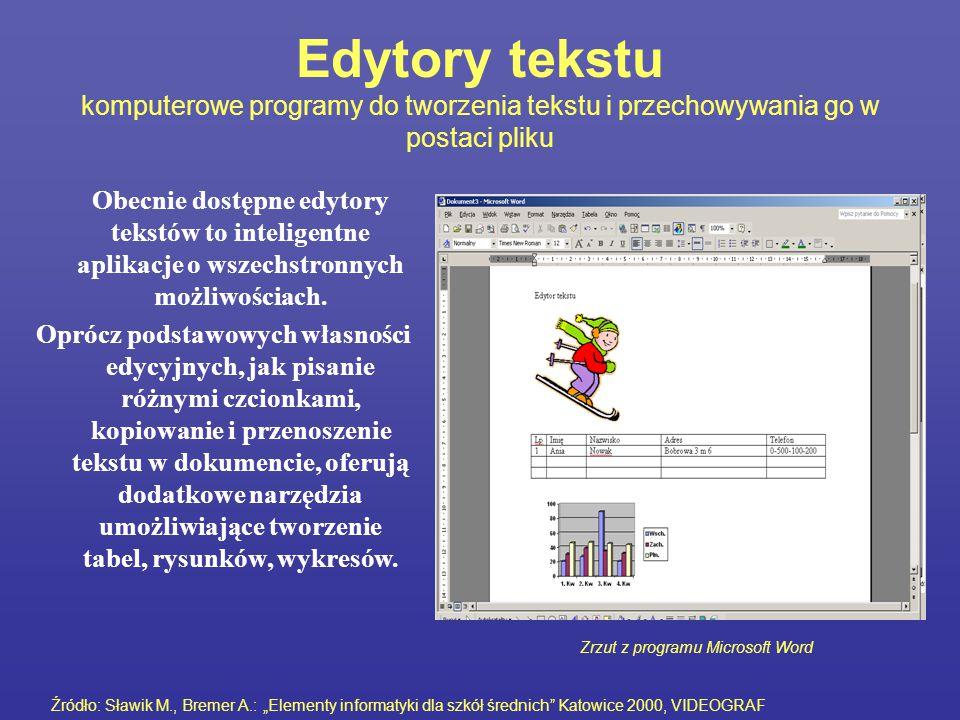 Edytory tekstu komputerowe programy do tworzenia tekstu i przechowywania go w postaci pliku Obecnie dostępne edytory tekstów to inteligentne aplikacje