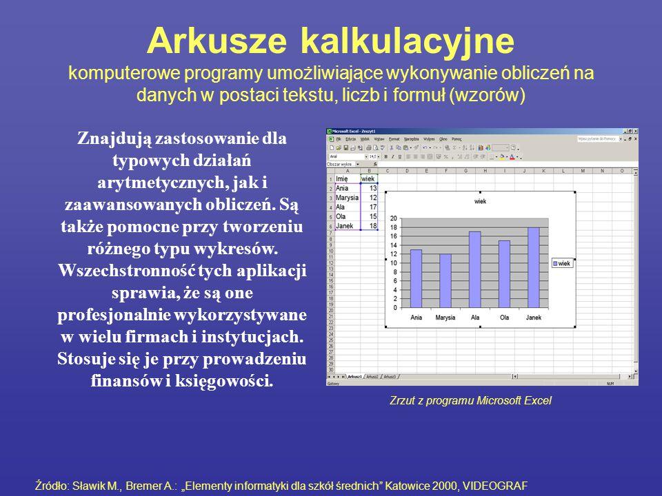 Arkusze kalkulacyjne komputerowe programy umożliwiające wykonywanie obliczeń na danych w postaci tekstu, liczb i formuł (wzorów) Znajdują zastosowanie