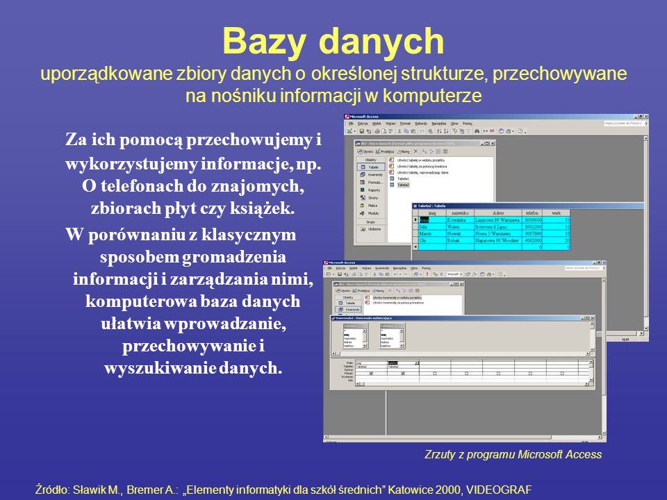Bazy danych uporządkowane zbiory danych o określonej strukturze, przechowywane na nośniku informacji w komputerze Za ich pomocą przechowujemy i wykorz