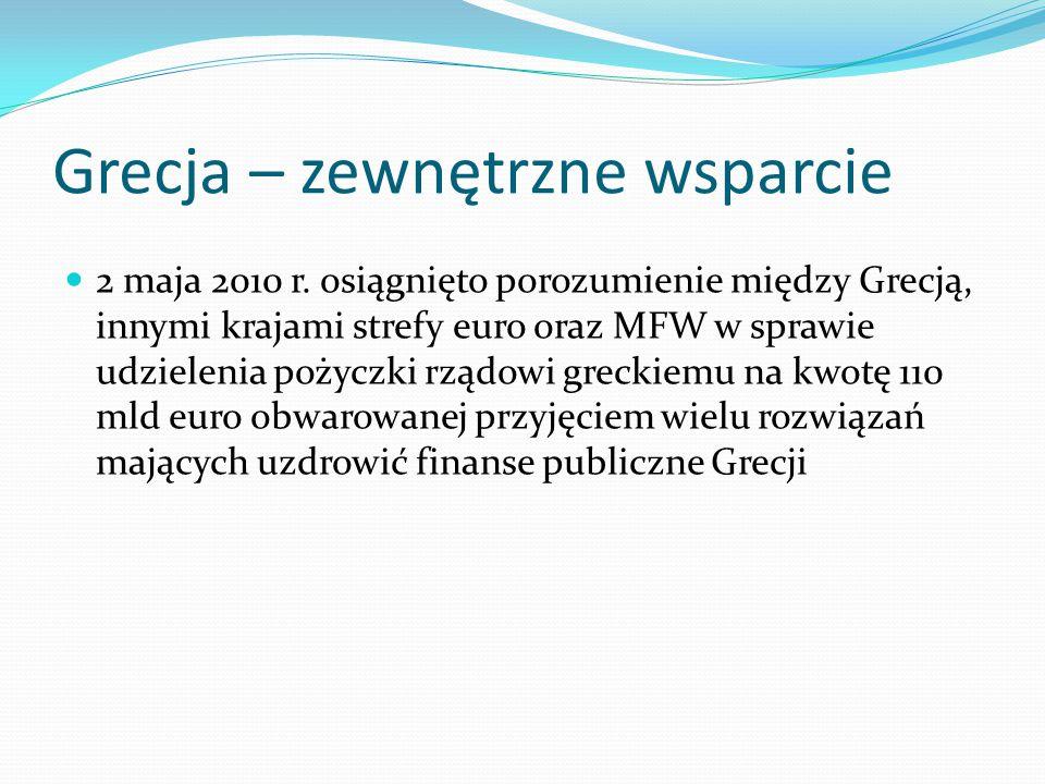 Grecja – zewnętrzne wsparcie 2 maja 2010 r. osiągnięto porozumienie między Grecją, innymi krajami strefy euro oraz MFW w sprawie udzielenia pożyczki r