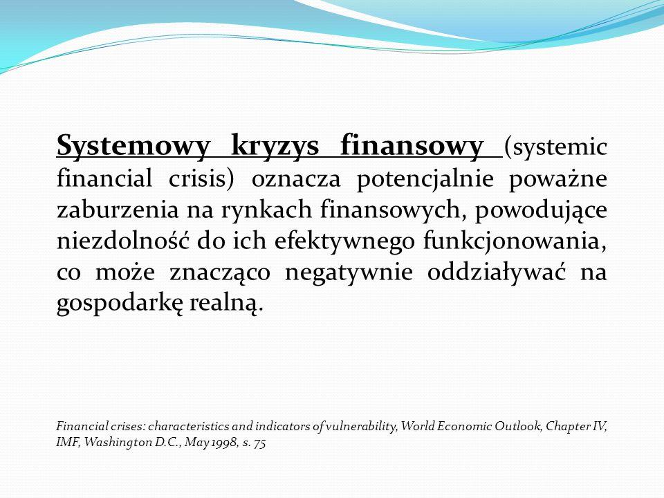 Systemowy kryzys finansowy (systemic financial crisis) oznacza potencjalnie poważne zaburzenia na rynkach finansowych, powodujące niezdolność do ich e