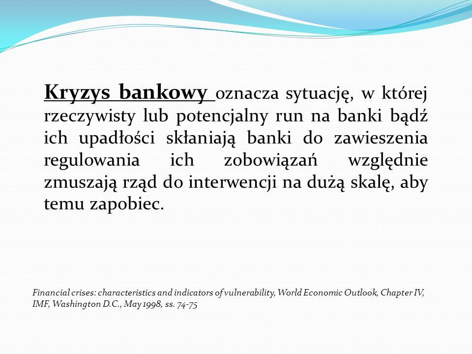 Kryzys bankowy oznacza sytuację, w której rzeczywisty lub potencjalny run na banki bądź ich upadłości skłaniają banki do zawieszenia regulowania ich z
