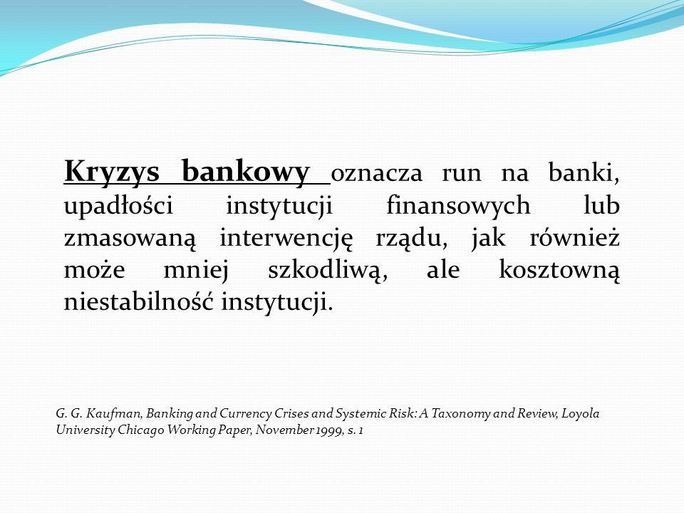 Kryzys bankowy oznacza run na banki, upadłości instytucji finansowych lub zmasowaną interwencję rządu, jak również może mniej szkodliwą, ale kosztowną