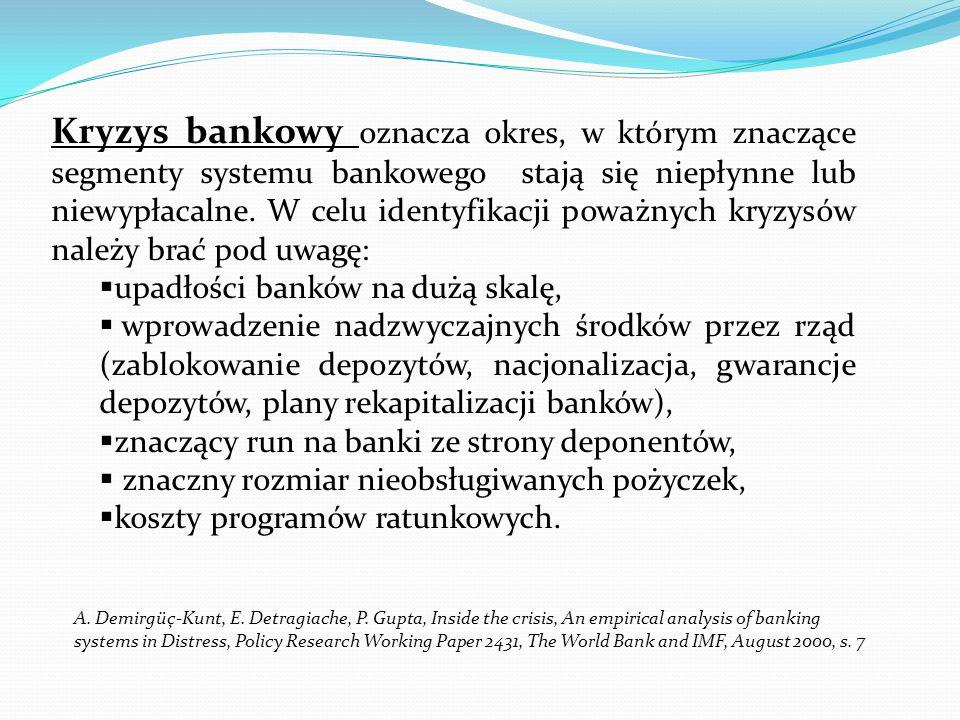 Kryzys bankowy oznacza okres, w którym znaczące segmenty systemu bankowego stają się niepłynne lub niewypłacalne. W celu identyfikacji poważnych kryzy
