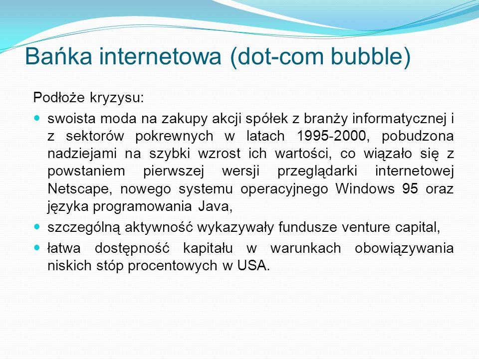 Bańka internetowa (dot-com bubble) Podłoże kryzysu: swoista moda na zakupy akcji spółek z branży informatycznej i z sektorów pokrewnych w latach 1995-
