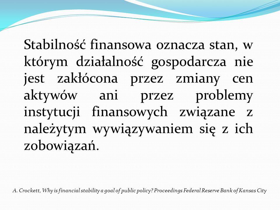 Stabilność finansowa oznacza stan, w którym działalność gospodarcza nie jest zakłócona przez zmiany cen aktywów ani przez problemy instytucji finansow