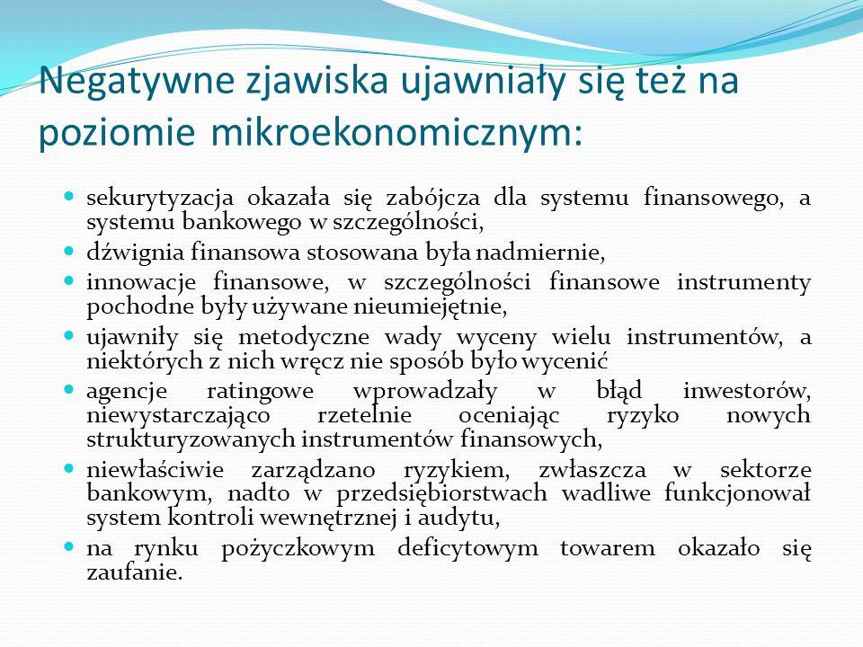 Negatywne zjawiska ujawniały się też na poziomie mikroekonomicznym: sekurytyzacja okazała się zabójcza dla systemu finansowego, a systemu bankowego w
