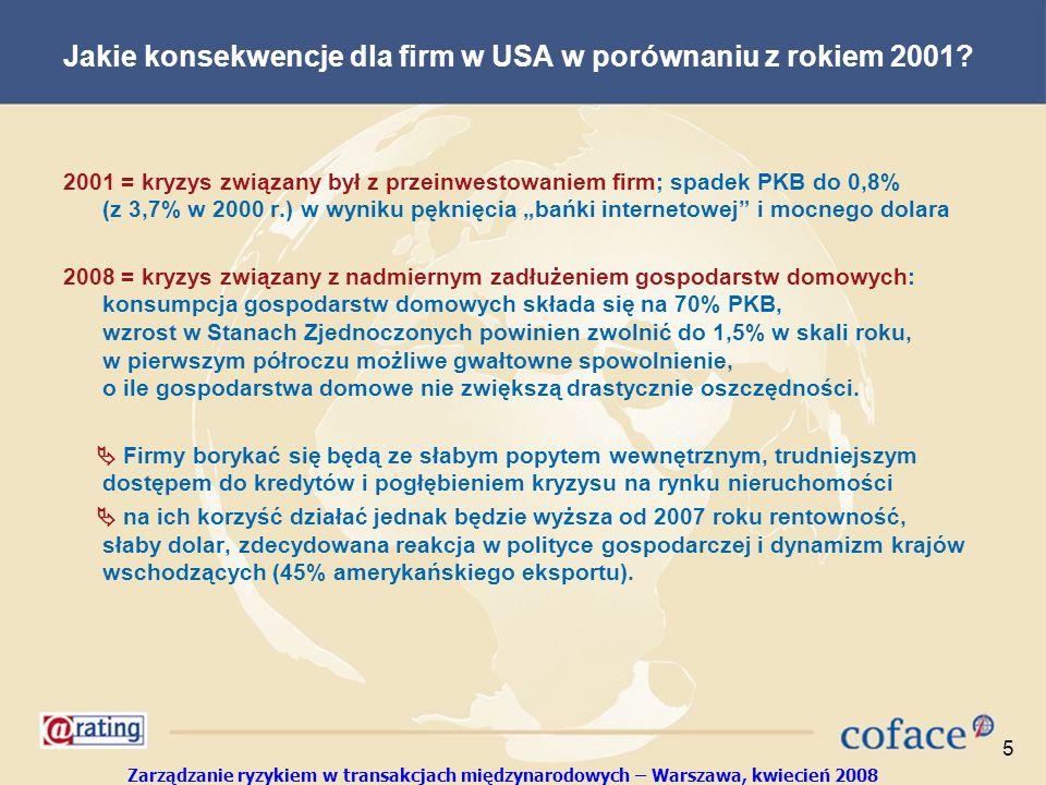 Zarządzanie ryzykiem w transakcjach międzynarodowych – Warszawa, kwiecień 2008 5 Jakie konsekwencje dla firm w USA w porównaniu z rokiem 2001.