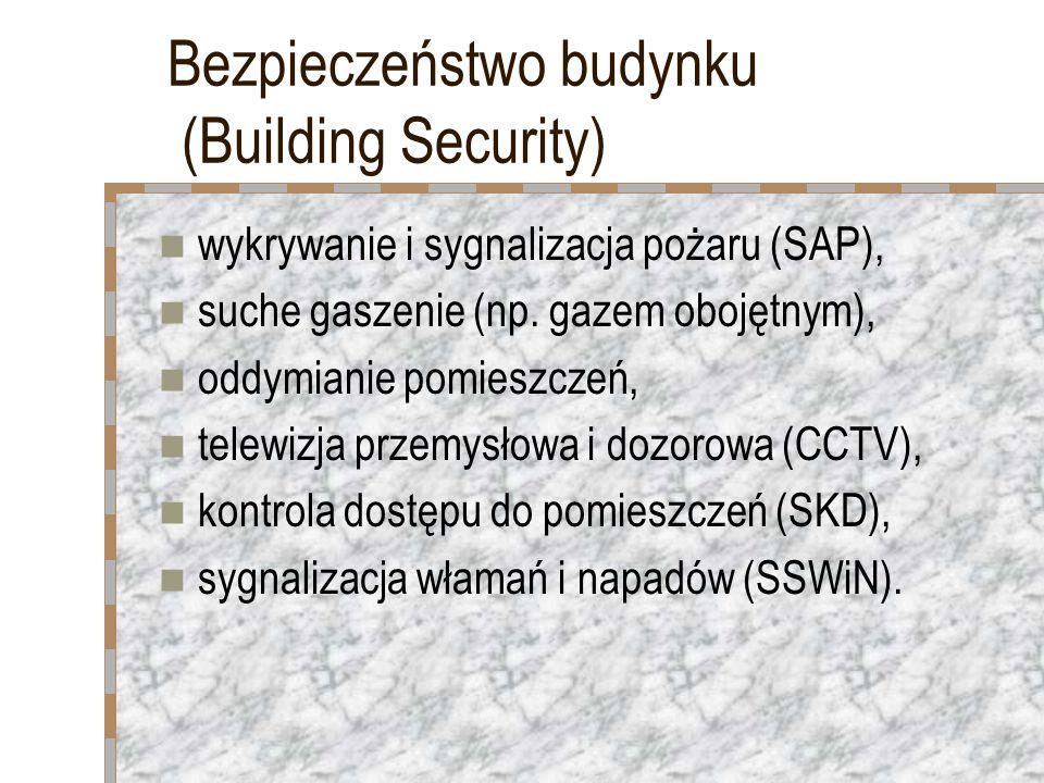 Bezpieczeństwo budynku (Building Security) wykrywanie i sygnalizacja pożaru (SAP), suche gaszenie (np. gazem obojętnym), oddymianie pomieszczeń, telew