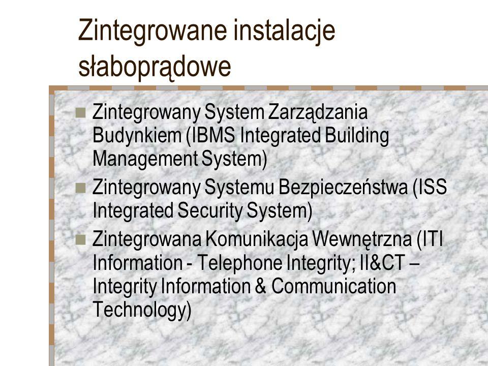 Zintegrowane instalacje słaboprądowe Zintegrowany System Zarządzania Budynkiem (IBMS Integrated Building Management System) Zintegrowany Systemu Bezpi