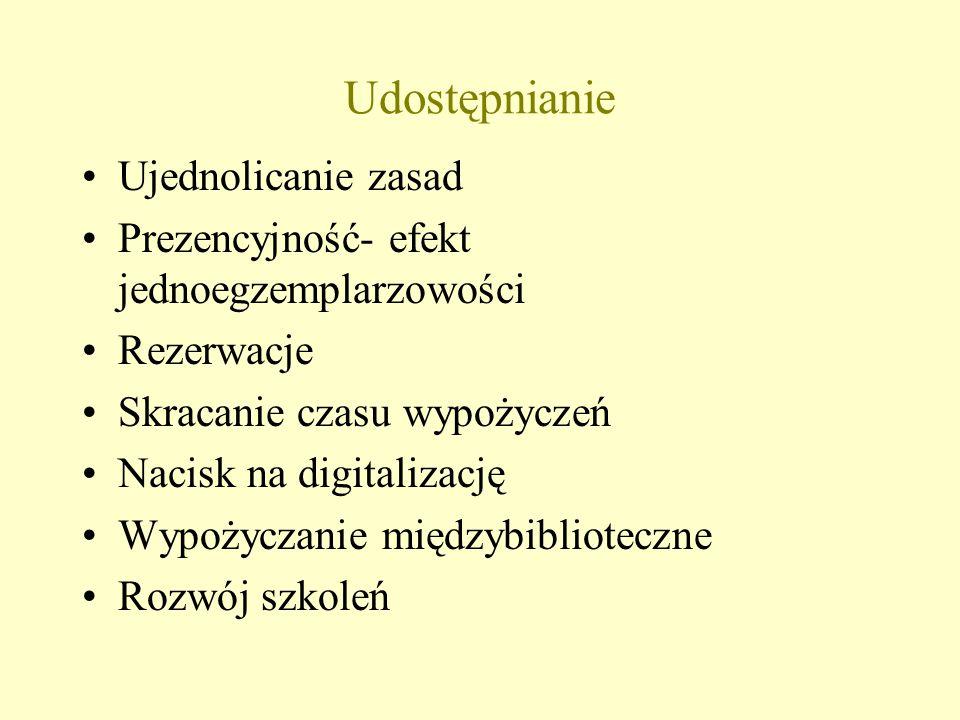 Udostępnianie Ujednolicanie zasad Prezencyjność- efekt jednoegzemplarzowości Rezerwacje Skracanie czasu wypożyczeń Nacisk na digitalizację Wypożyczanie międzybiblioteczne Rozwój szkoleń