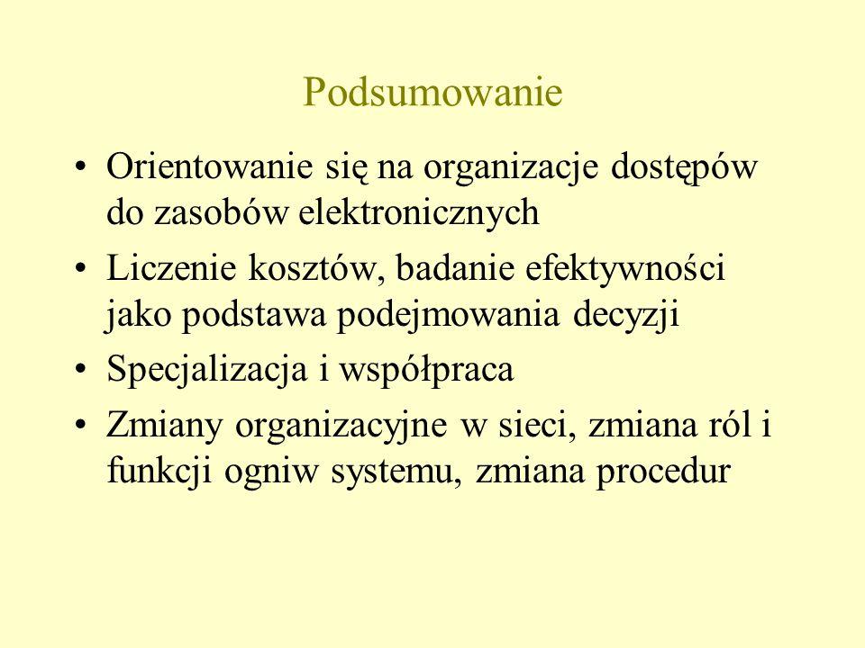 Podsumowanie Orientowanie się na organizacje dostępów do zasobów elektronicznych Liczenie kosztów, badanie efektywności jako podstawa podejmowania decyzji Specjalizacja i współpraca Zmiany organizacyjne w sieci, zmiana ról i funkcji ogniw systemu, zmiana procedur