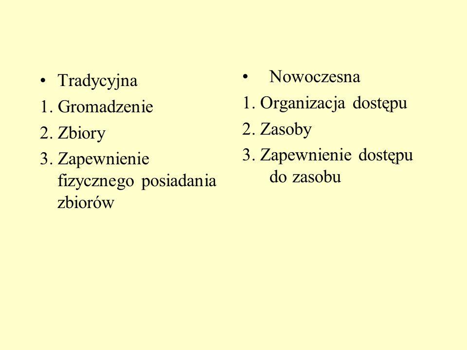 Tradycyjna 1. Gromadzenie 2. Zbiory 3. Zapewnienie fizycznego posiadania zbiorów Nowoczesna 1.