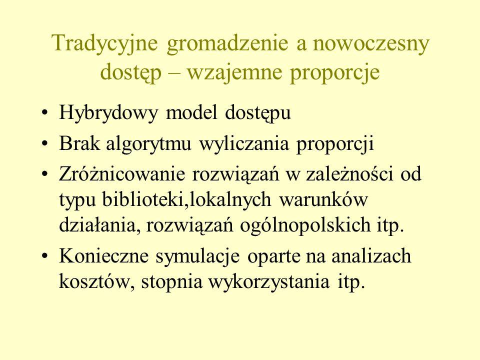 Tradycyjne gromadzenie a nowoczesny dostęp – wzajemne proporcje Hybrydowy model dostępu Brak algorytmu wyliczania proporcji Zróżnicowanie rozwiązań w zależności od typu biblioteki,lokalnych warunków działania, rozwiązań ogólnopolskich itp.