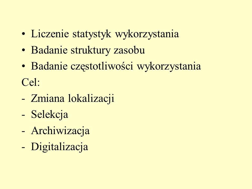Liczenie statystyk wykorzystania Badanie struktury zasobu Badanie częstotliwości wykorzystania Cel: -Zmiana lokalizacji -Selekcja -Archiwizacja -Digitalizacja