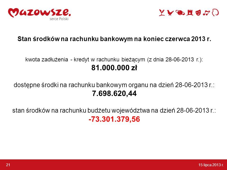 15 lipca 2013 r. 21 Stan środków na rachunku bankowym na koniec czerwca 2013 r.