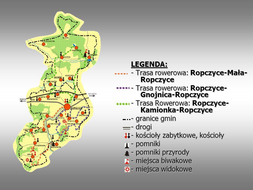 LEGENDA: - Trasa rowerowa: Ropczyce-Mała- Ropczyce - Trasa rowerowa: Ropczyce- Gnojnica-Ropczyce - Trasa Rowerowa: Ropczyce- Kamionka-Ropczyce - grani